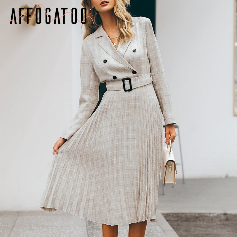 GOTCHA Elegant button belt Plaid women blazer dress