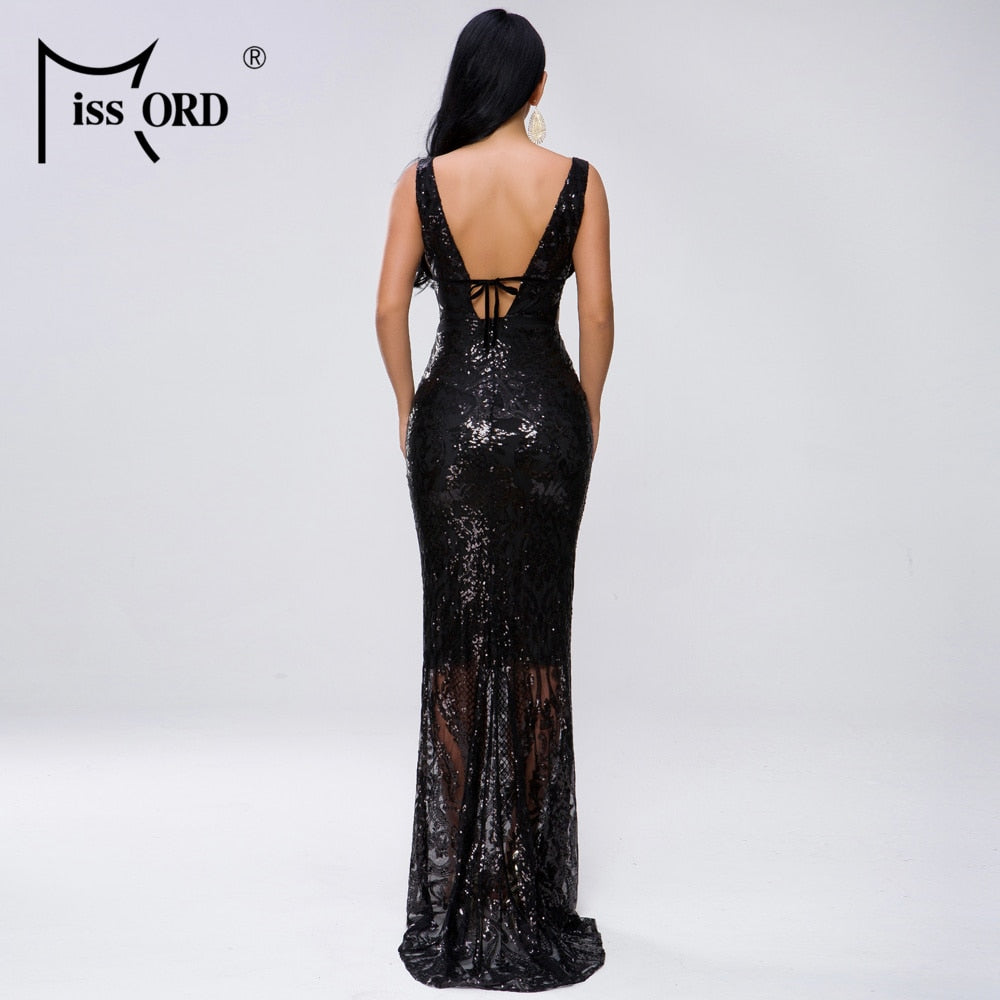 2019 Women Sexy Deep V Off Shoulder Hollow Out Sequin Dresses Female Elegant Maxi Dress  FT19463