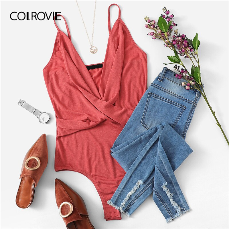 GOTCHA Pink Solid Plunging Neck Cross Wrap Cami Sexy Bodysuit Women Clothes 2019 Spring Fashion Sleeveless Club Party Bodysuit