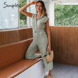 Simplee V-neck women jumpsuit romper Elegant sash belt female long jumpsuit Casual streetwear solid office ladies jumpsuit