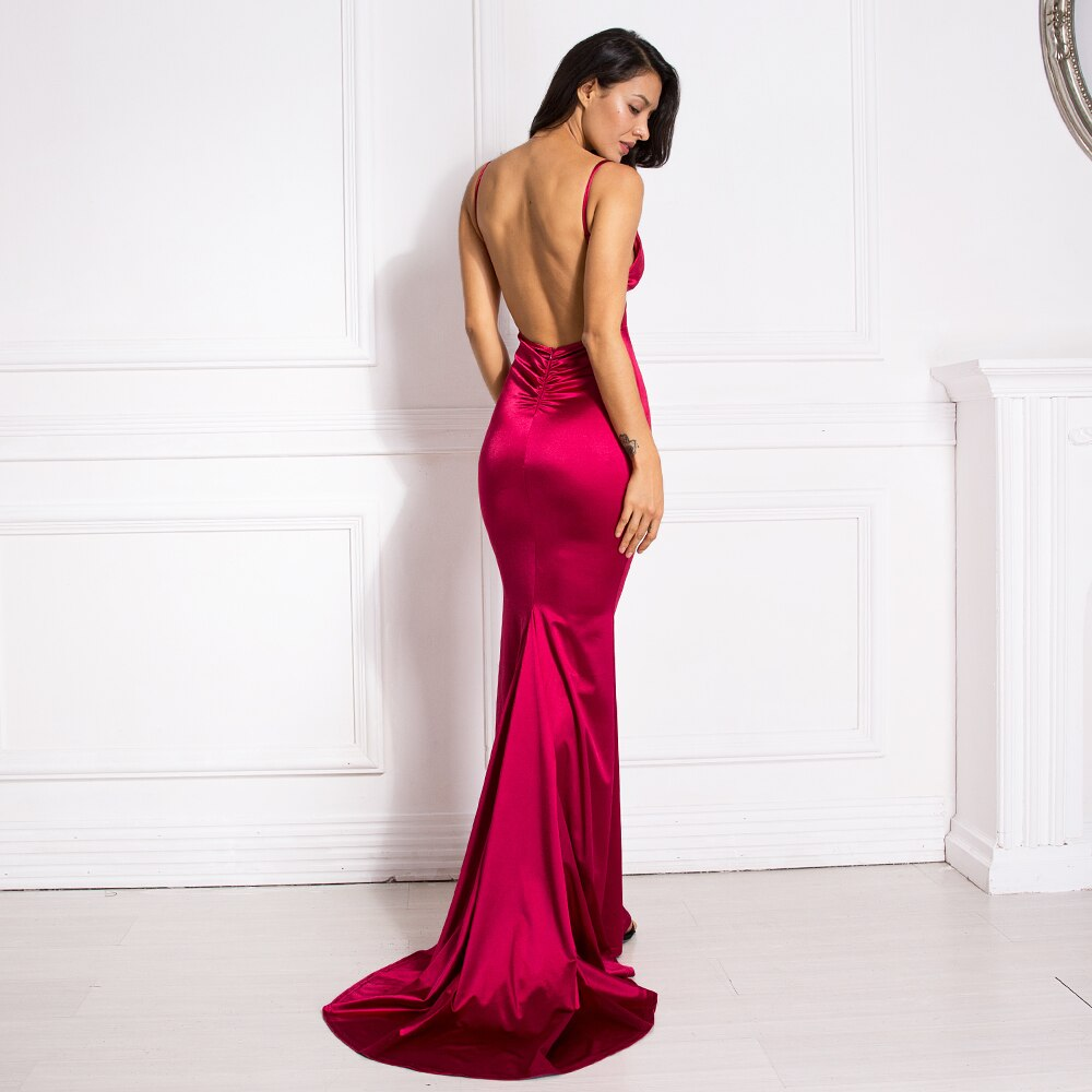 Burgundy Mermaid Dresses Sleeveless Floor Length Elegant Party Dress V Neck Backless Bodycon Sexy Backless Stretch Dress