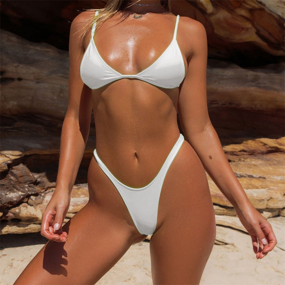 Bikini Women 2019 Sexy Bibini Set Brazilian Solid Swimwear Summer Beach Women Bathing Suit Swimming Biquini