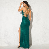 Sexy Green Sequin Party Dress Hollow Out Open Back Lace Up Stretchy Sequined High Split Leg V Neck Strappy Dress