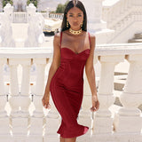 ADYCE 2019 New Summer Women Midi Bodycon Bandage Dress Sexy Sleeveless Spaghetti Strap Mermaid Club Celebrity Runway Party Dress