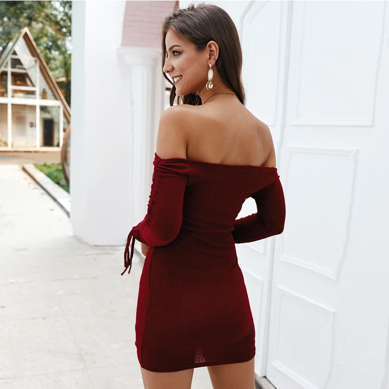 GOTCHA Off Shoulder Tassel Bodycon Mini Evening Party Dress