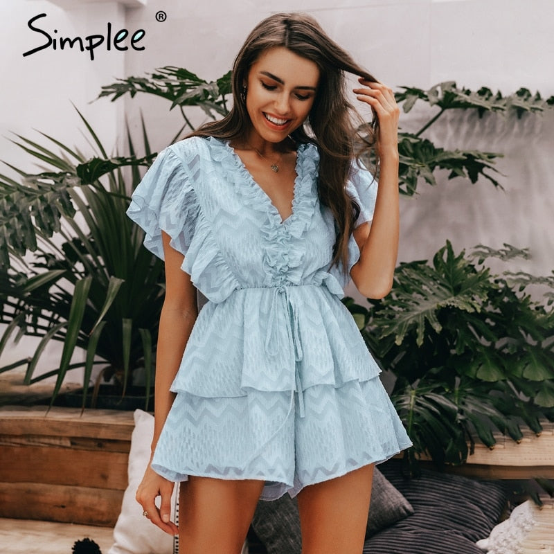 Simplee Elegant v neck ruffled blue women romper Summer short sleeve sashes chiffon jumpsuits Casual sweet ladies overalls 2019