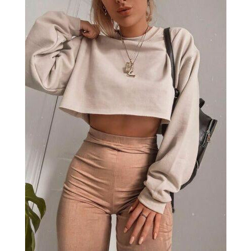 GOTCHA Long Sleeve Top Round Neck Cotton Solid Color Pullover Ladies Crop Top Sweatshirt Tee Tops 2019 New