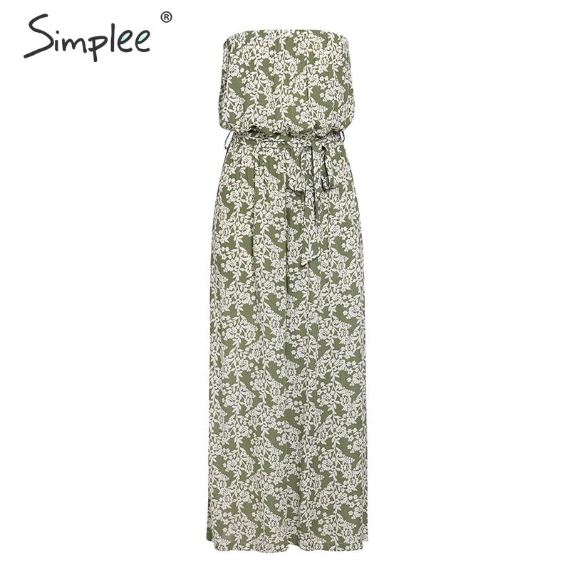 Simplee Bohemian floral print long jumpsuit women Tube high waist lace up female jumpsuit Summer wide leg loose ladies jumpsuits
