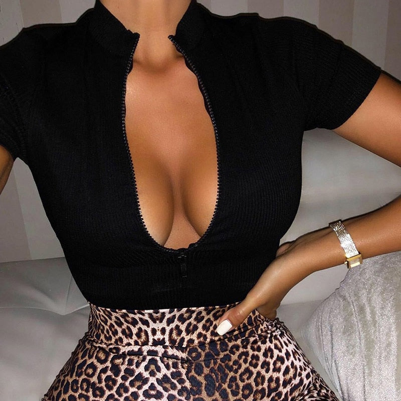 GOTCHA Collar Zipper Striped Crop Tops Slim Solid Sexy Tops Short Sleeve T-shirts 2019