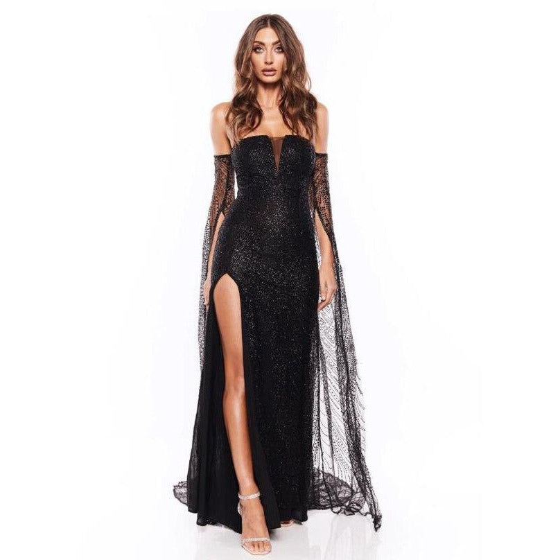 Gold Glittered Slash Neck Party Maxi Dress Backless Hollow Out Split Leg Floor Length Flare Sleeve Glitter Elegant Dress Black