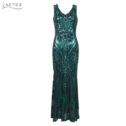Adyce 2019 New Summer Women Luxury Maxi Celebrity Sexy Night Out Party Dress Elegant Deep V Sequined Lace Club Dress Vestidos