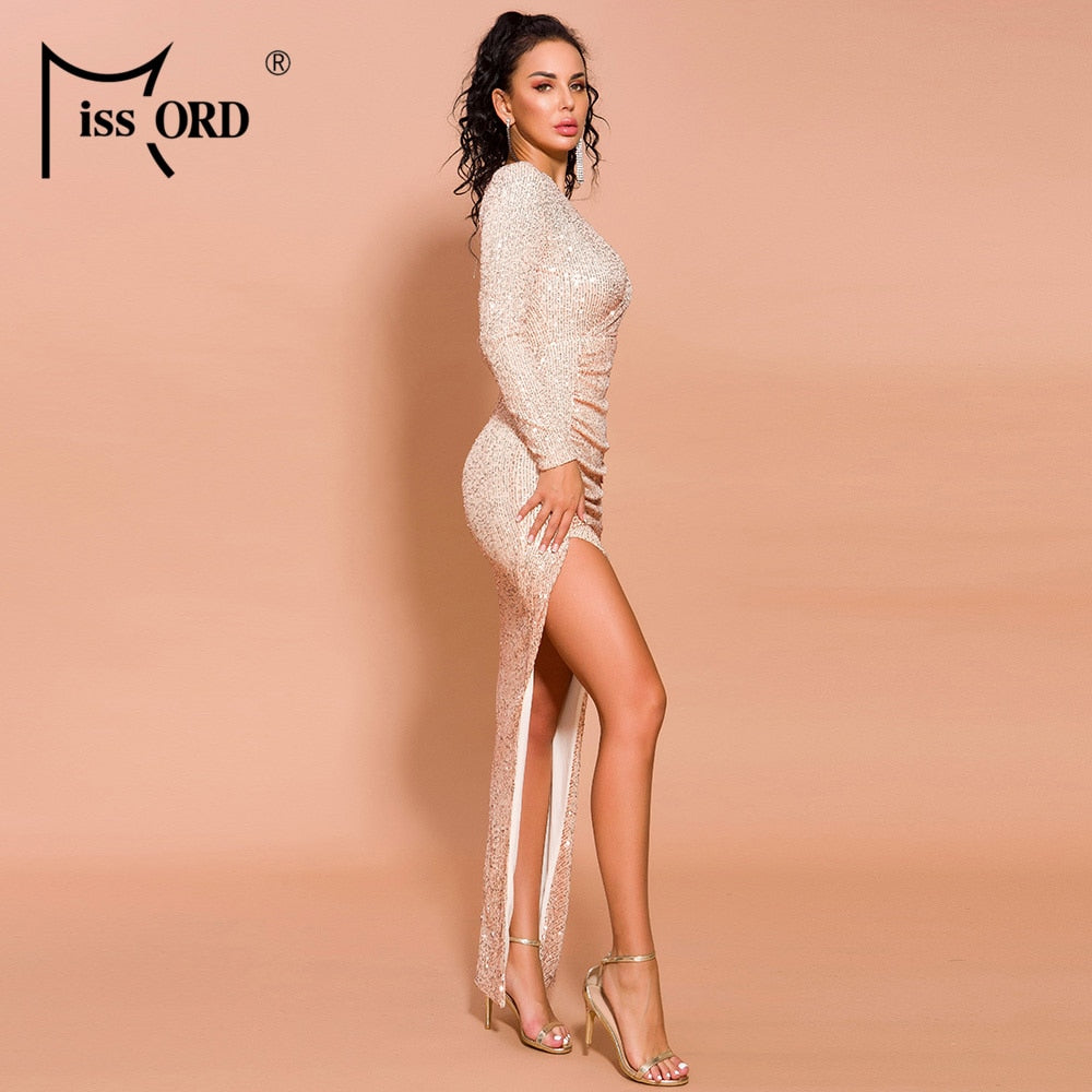 2019 Women Sexy High Neck Long Sleeve Hollow Out Dresses Female Sequin Dress Maxi Elegant Dress  FT19517