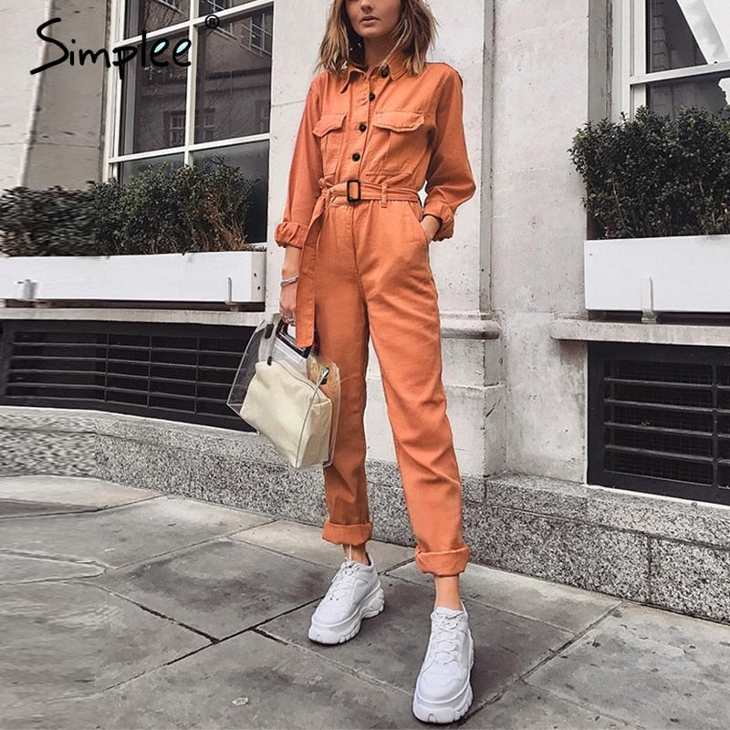 Simplee Casual cargo cotton women's jumpsuit Sashes orange pocket sports jumpsuit overall Solid autumn winter female romper