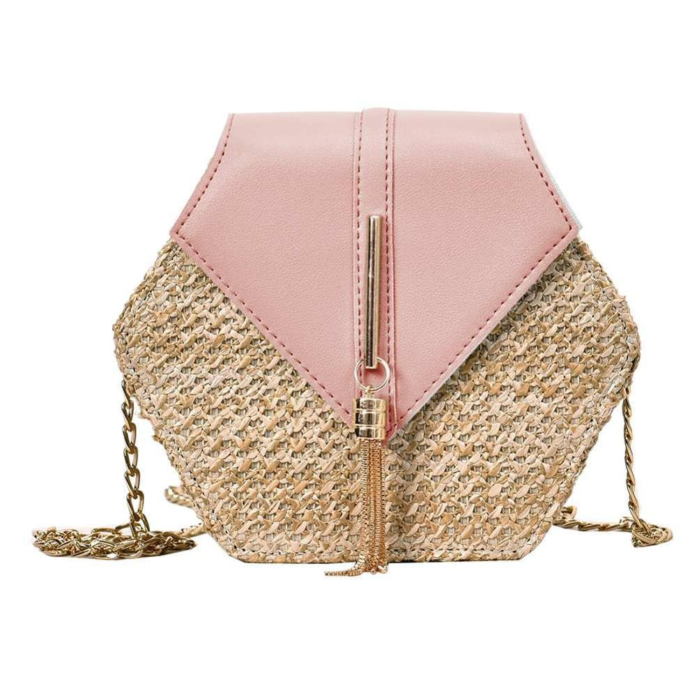 GOTCHA Hexagon Mulit Style Straw+pu Bag Handbags