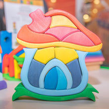 Load image into Gallery viewer, Gluckskafer Wooden Mushroom House | Imaginative Play Wooden Toys | Waldorf Education and Montessori Education | Lifestyle: Mushroom House Assembled | BeoVERDE.ie