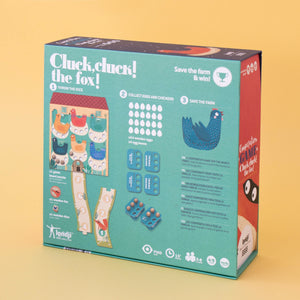 Londji CLUCK, CLUCK! THE FOX! Board Game | Board Game for Kids, Adults & the Whole Family | Box Back | BeoVERDE.ie