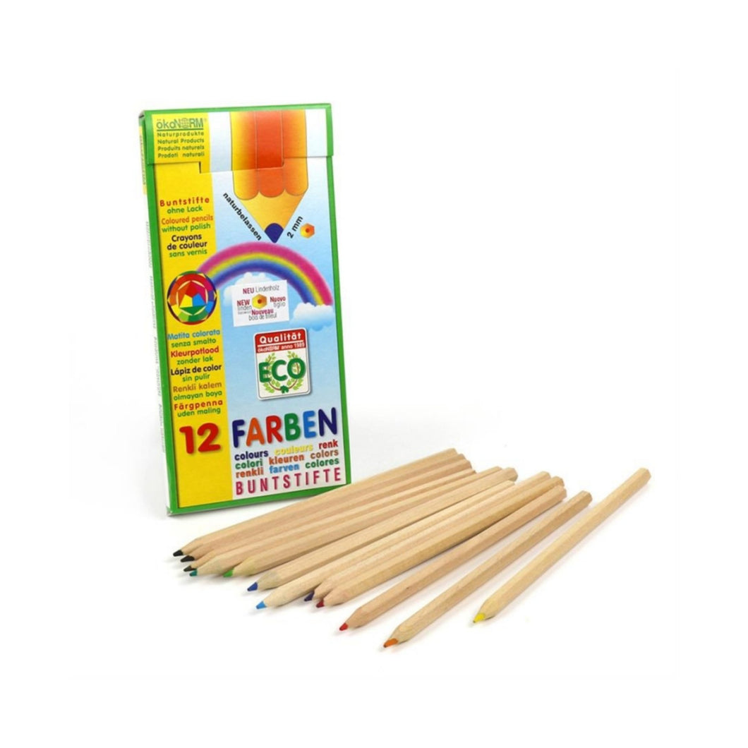 Non-Toxic Wooden Coloured Pencils | 12 Vibrant Colours | BeoVERDE.ie