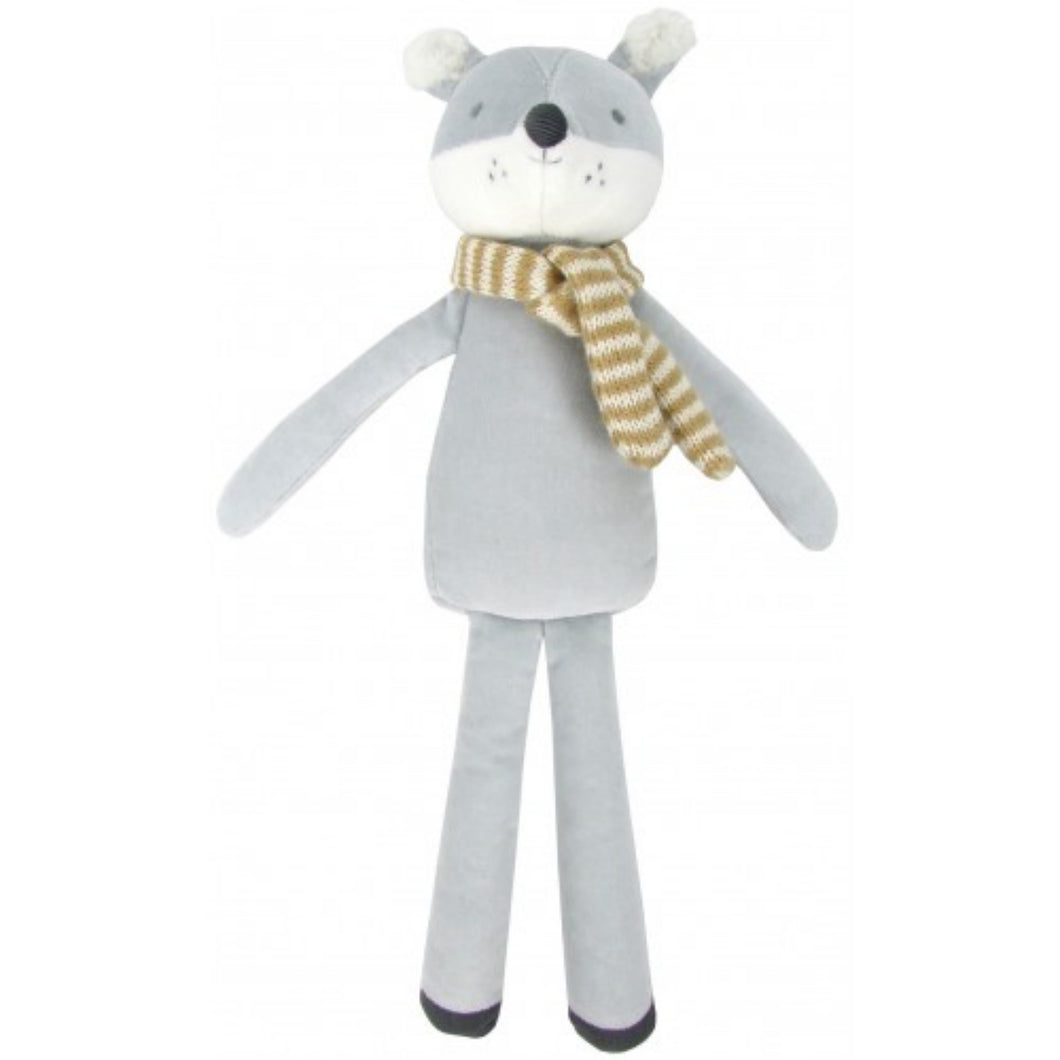 Albetta Wolf with Scarf | Soft Toy Made From Cotton Velvet | Imaginative Play Toy | Front View | BeoVERDE.ie