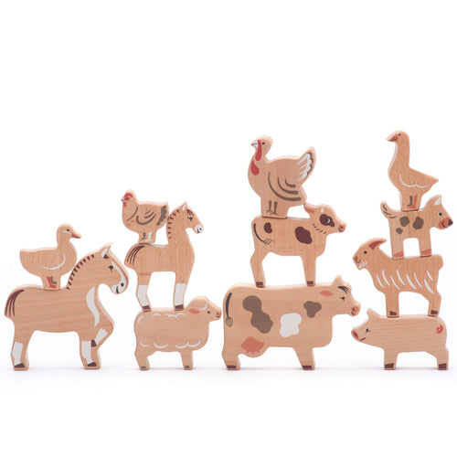 14 Natural Wooden Farm Animals | Hand-Crafted Wooden Toys | Bajo | Front View - Some Animals Stacked | BeoVERDE.ie