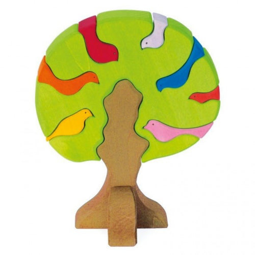 Gluckskafer Wooden Bird Tree Puzzle & Stacker | Imaginative Play Wooden Toys | Waldorf Education and Montessori Education | Front View | BeoVERDE.ie