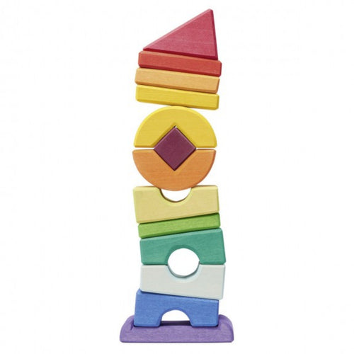 Gluckskafer Crooked Tower Wooden Blocks | Imaginative Play Wooden Toys | Waldorf Education and Montessori Education | Side View | BeoVERDE.ie
