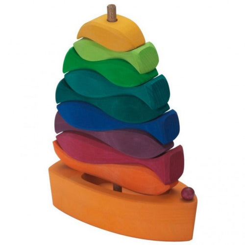 Gluckskafer Wooden Fish Stacker | Imaginative Play Wooden Toys | Waldorf Education and Montessori Education | Side View | BeoVERDE.ie