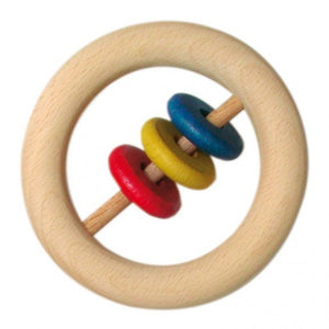 Gluckskafer Large Wooden Ring Rattle | Baby's First Wooden Toy | Right Side | BeoVERDE.ie