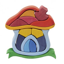 Load image into Gallery viewer, Gluckskafer Wooden Mushroom House | Imaginative Play Wooden Toys | Waldorf Education and Montessori Education | Side View | BeoVERDE.ie