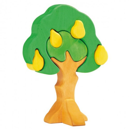Gluckskafer Wooden Pear Tree Puzzle & Stacker | Imaginative Play Wooden Toys | Waldorf Education and Montessori Education | Front View | BeoVERDE.ie