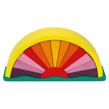 Load image into Gallery viewer, Gluckskafer Yellow Sunray Arch | Imaginative Play Wooden Toys | Waldorf Education and Montessori Education | Side View | BeoVERDE.ie