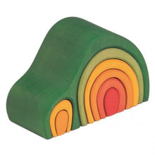 Load image into Gallery viewer, Gluckskafer Green Wooden Arch House Stacker | Imaginative Play Wooden Toys | Waldorf Education and Montessori Education | Right Side View | BeoVERDE.ie