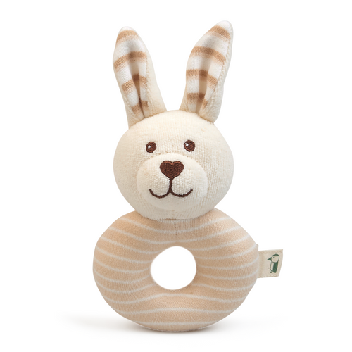 Grunspecht Organic Cotton Soft Ring Rattle 'Rabbit' | Front View | BeoVERDE.ie