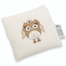 Load image into Gallery viewer, Warming Pillow for Babies | Owl | Organic Flax Seeds and Organic Cotton | BeoVERDE.ie