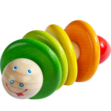 Load image into Gallery viewer, Rainbow Snake | Rattle & Clutching Toy | Baby's First Wooden Toy | HABA | Front View | BeoVERDE.ie