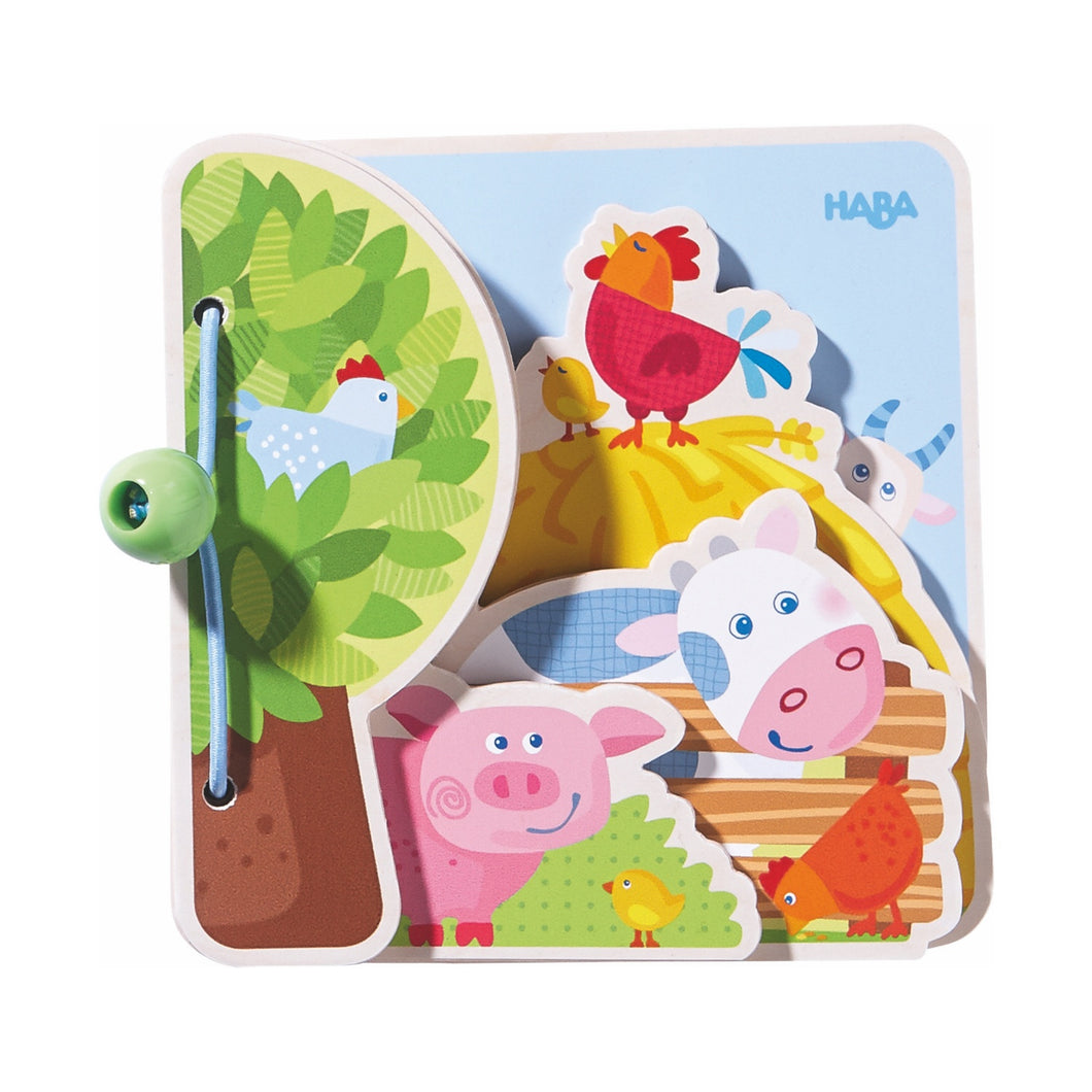 Farm Friends | Wooden Baby Book | Baby's First Book Toy | HABA | Closed | BeoVERDE.ie
