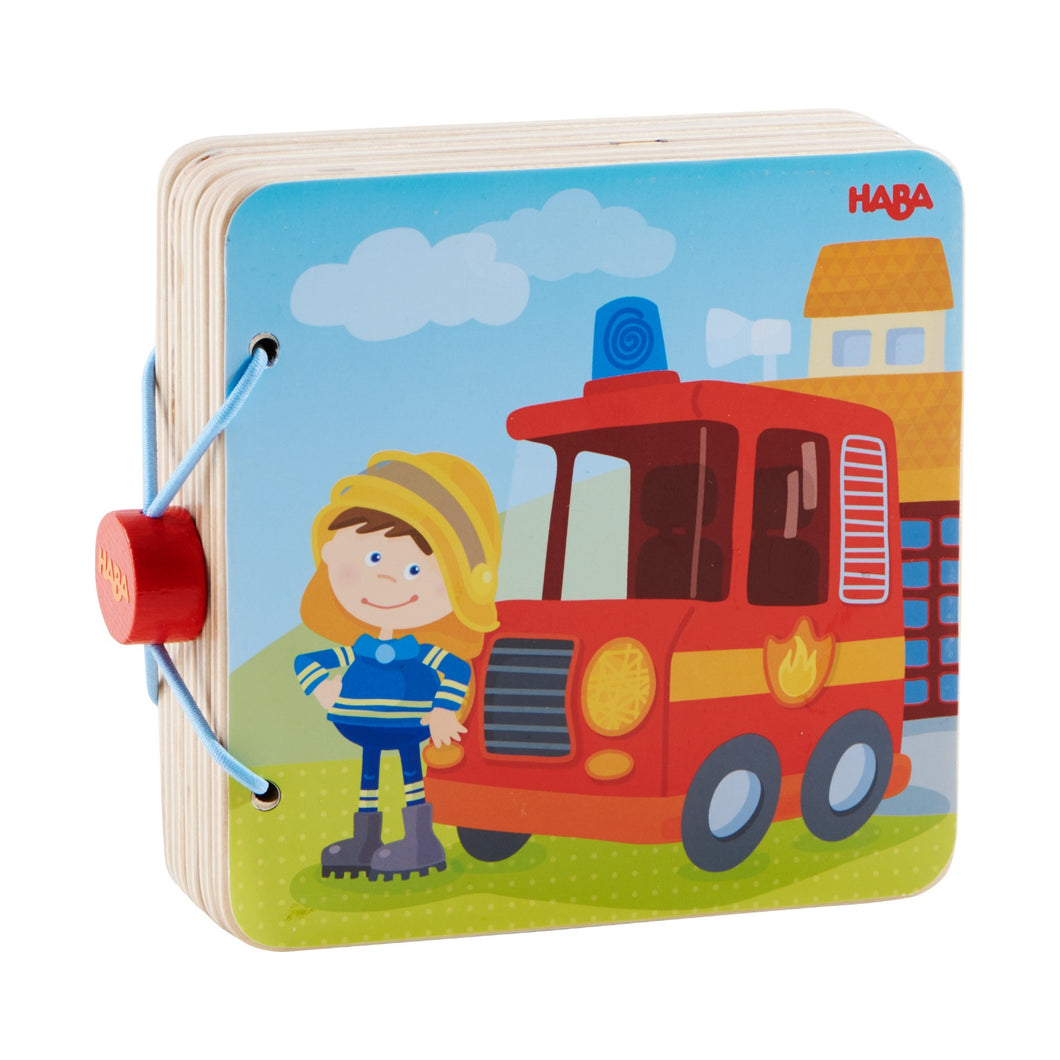 Fire Brigade | Wooden Baby Book | Baby's First Book Toy | HABA | Book Closed | BeoVERDE.ie