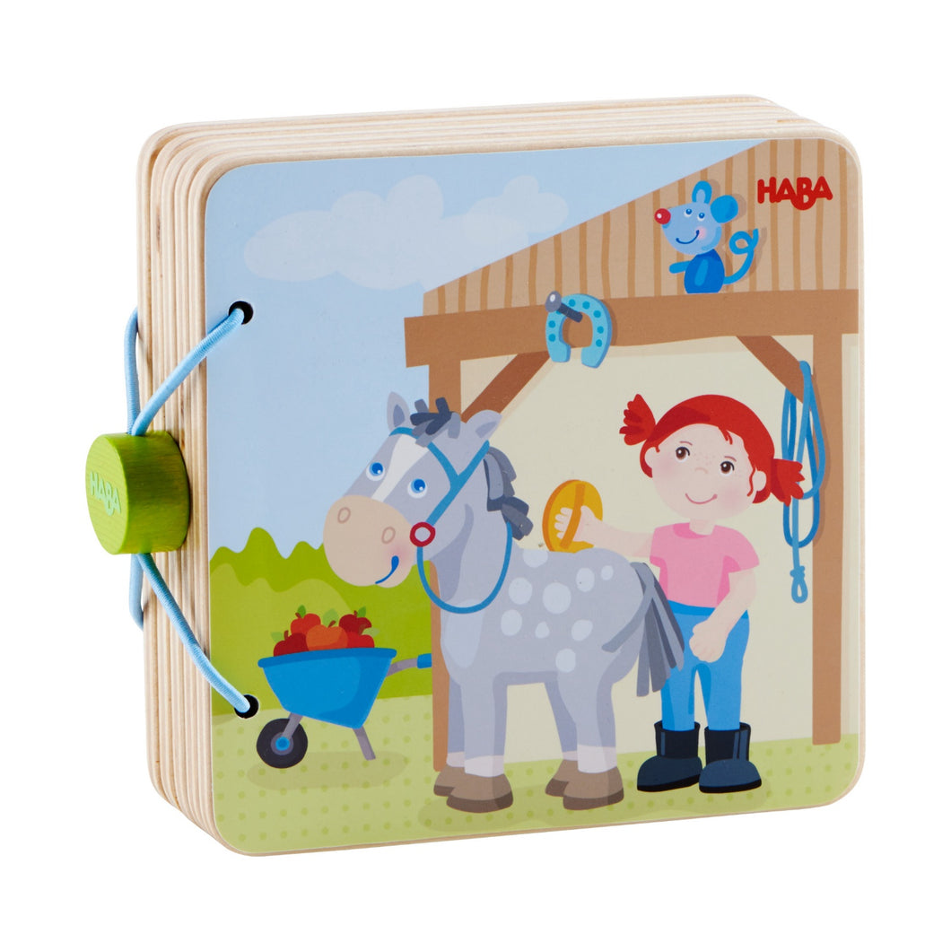 The Stables | Wooden Baby Book | Baby's First Book Toy | HABA | Book Closed | BeoVERDE.ie