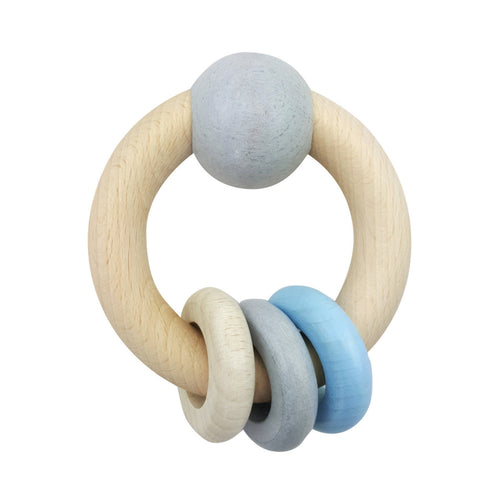 Baby Blue Bead Ring Rattle | Baby's First Wooden Toy | Hess | Right Side | BeoVERDE.ie