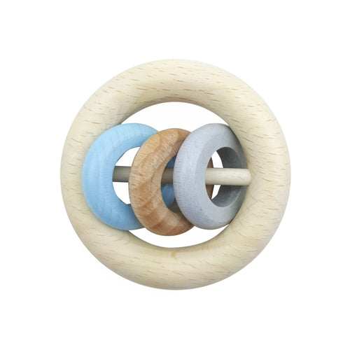Baby Blue Ring Rattle | Baby's First Wooden Toy | Hess | Right Side | BeoVERDE.ie