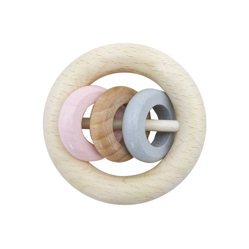 Pink Rosé Ring Rattle | Baby's First Wooden Toy | Hess | Right Side | BeoVERDE.ie