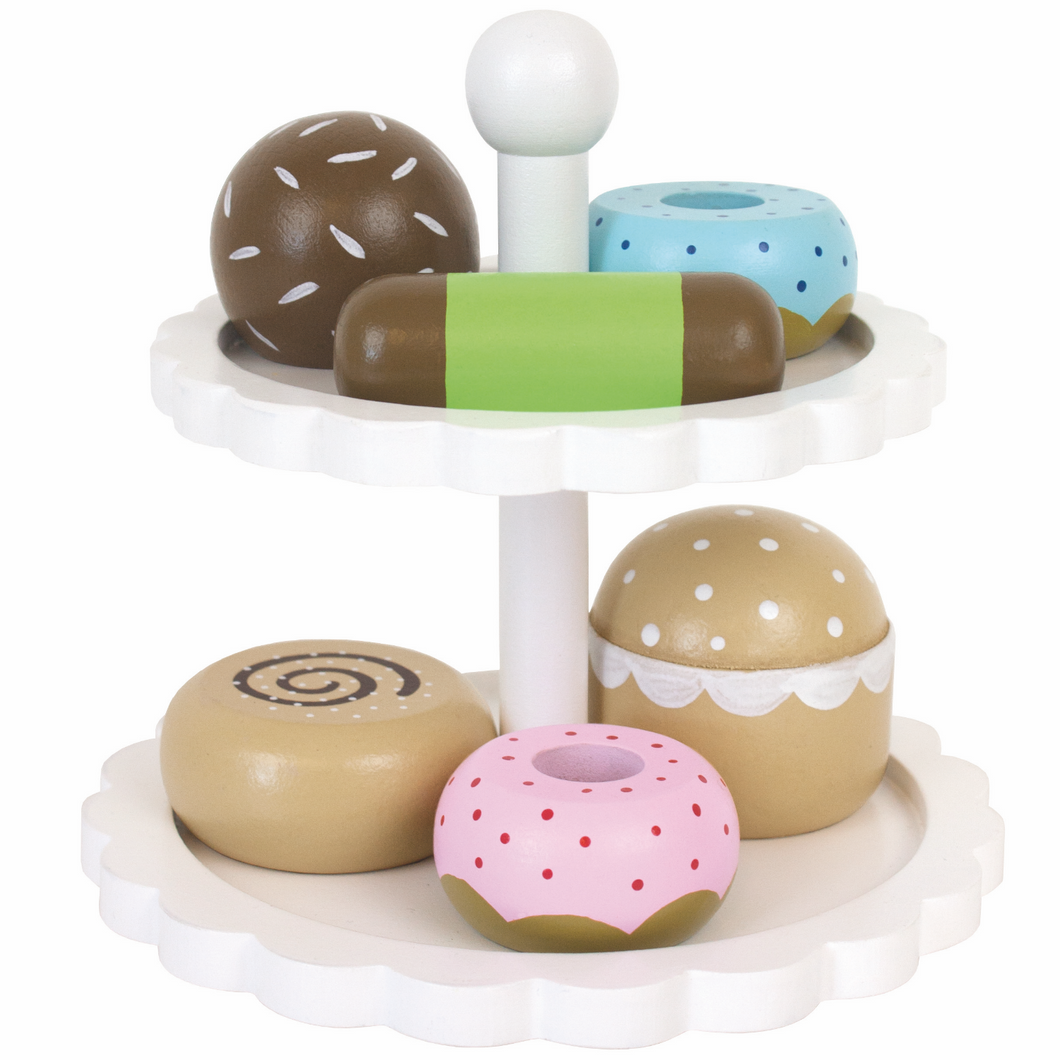 JaBaDaBaDo Cake Stand With 6 Delicious Cakes | Wooden Pretend Play Toys | Front View | BeoVERDE.ie