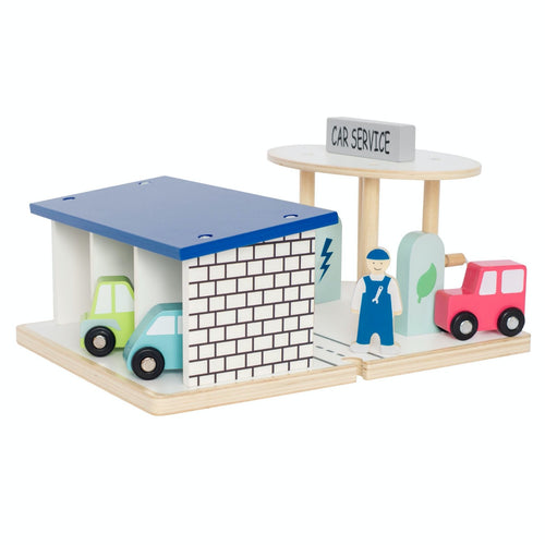 JaBaDaBaDo Car Service | Wooden Imaginative Play Toy | Side View  - Back | BeoVERDE.ie