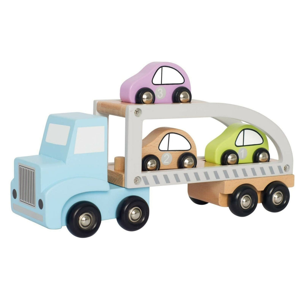 JaBaDaBaDo Car Transporter with 3 Cars | Wooden Imaginative Play Toy | Side View  - Cars on Trailer | BeoVERDE.ie
