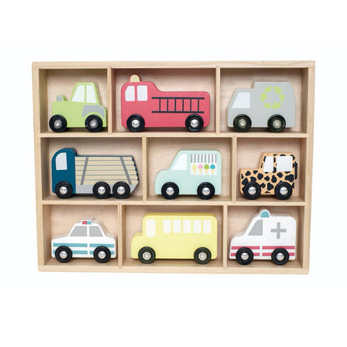 JaBaDaBaDo Wooden Cars Display Shelf With 9 Different Vehicles | Wooden Imaginative Play Toy | Front View | BeoVERDE.ie