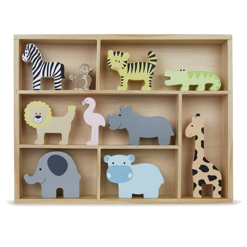 JaBaDaBaDo Wooden Animal Display Shelf With 9 Different Safari Animals | Wooden Imaginative Play Toy | Front View | BeoVERDE.ie