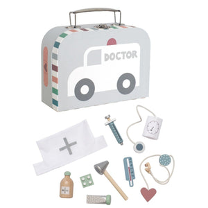 JaBaDaBaDo Doctor's Case Silver | Wooden Pretend Play Toy | Front View | BeoVERDE.ie