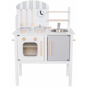 JaBaDaBaDo Kitchen With Pot & Pan | Scandi-Style Pretend Play Kitchen | Front View | BeoVERDE.ie