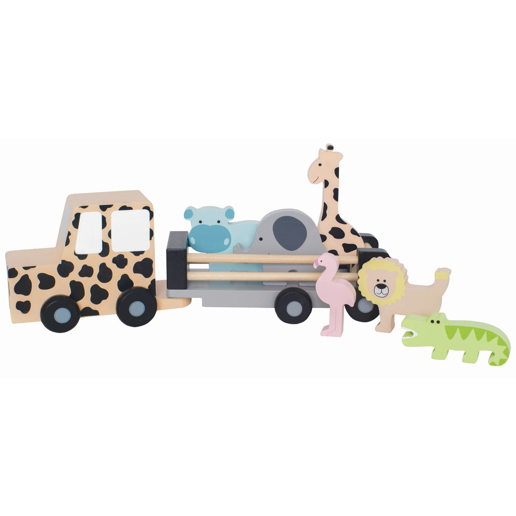 JaBaDaBaDo Safari Jeep | Wooden Imaginative Play Toy | Side View | BeoVERDE.ie