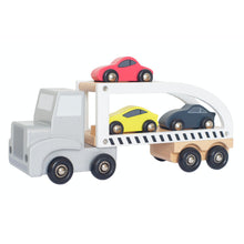 Load image into Gallery viewer, JaBaDaBaDo Car Transporter with 3 Sport Cars | Wooden Imaginative Play Toy | Side View  - Cars on Trailer | BeoVERDE.ie