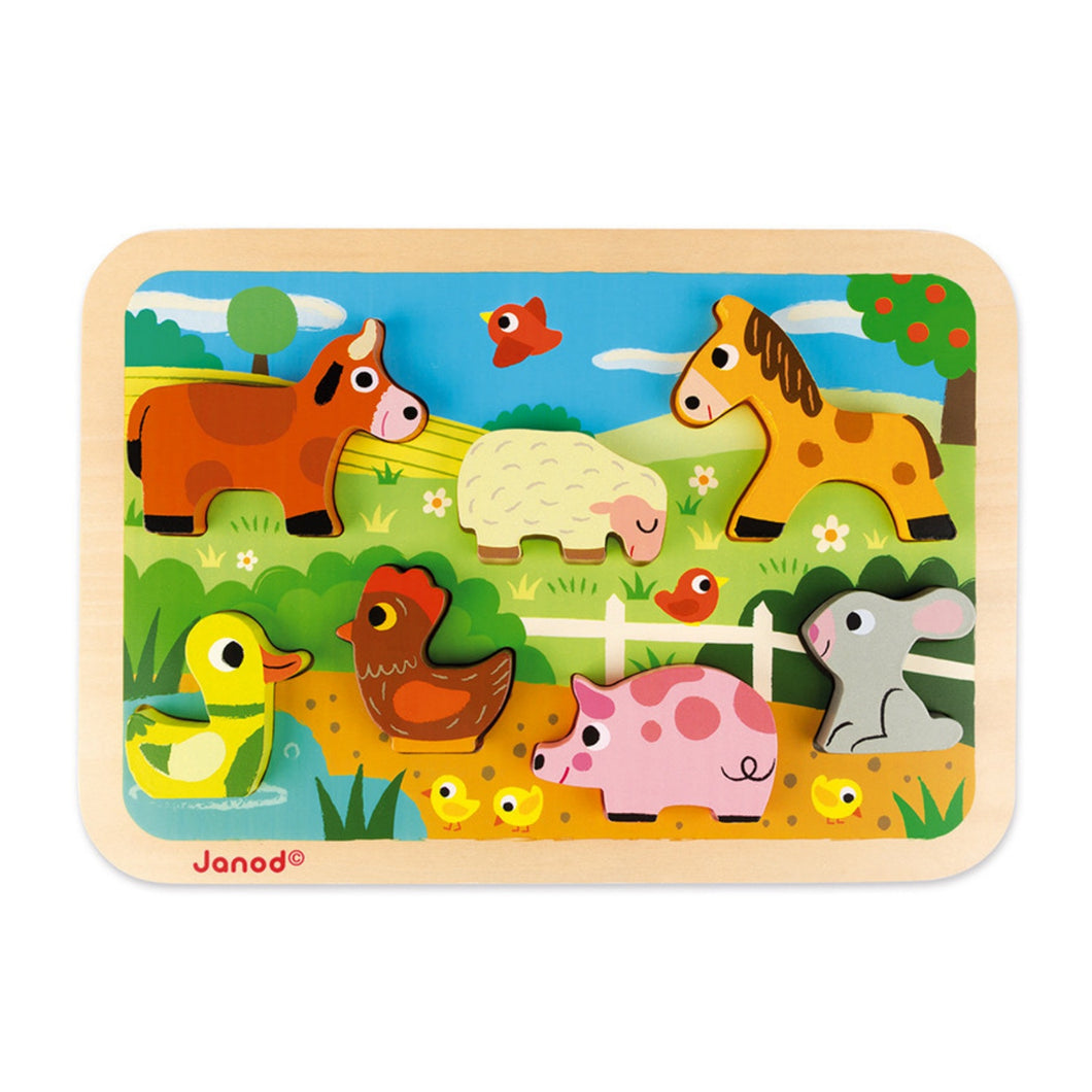 Janod Farm Puzzle With 7 Different Animals | Wooden Imaginative Play Toys | Front View | BeoVERDE.ie